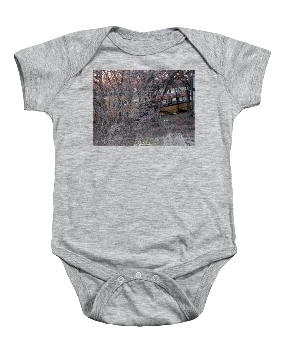 Schoolbus Baby Onesie featuring the photograph Forgotten Schoolbus Illinois Bend North Texas by Amy Hosp