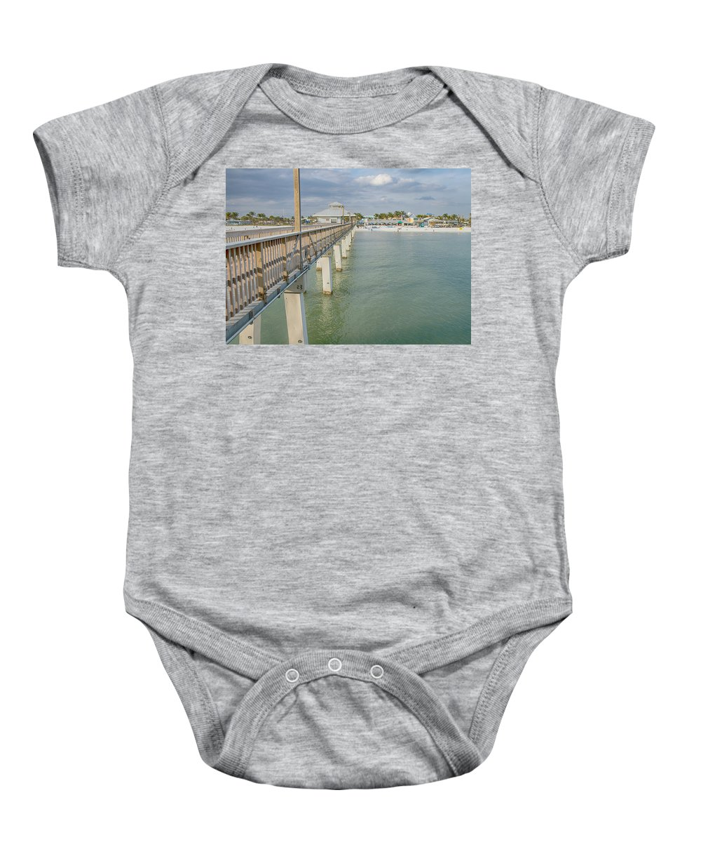 Pier Baby Onesie featuring the photograph Fort Myers Beach by Kim Hojnacki