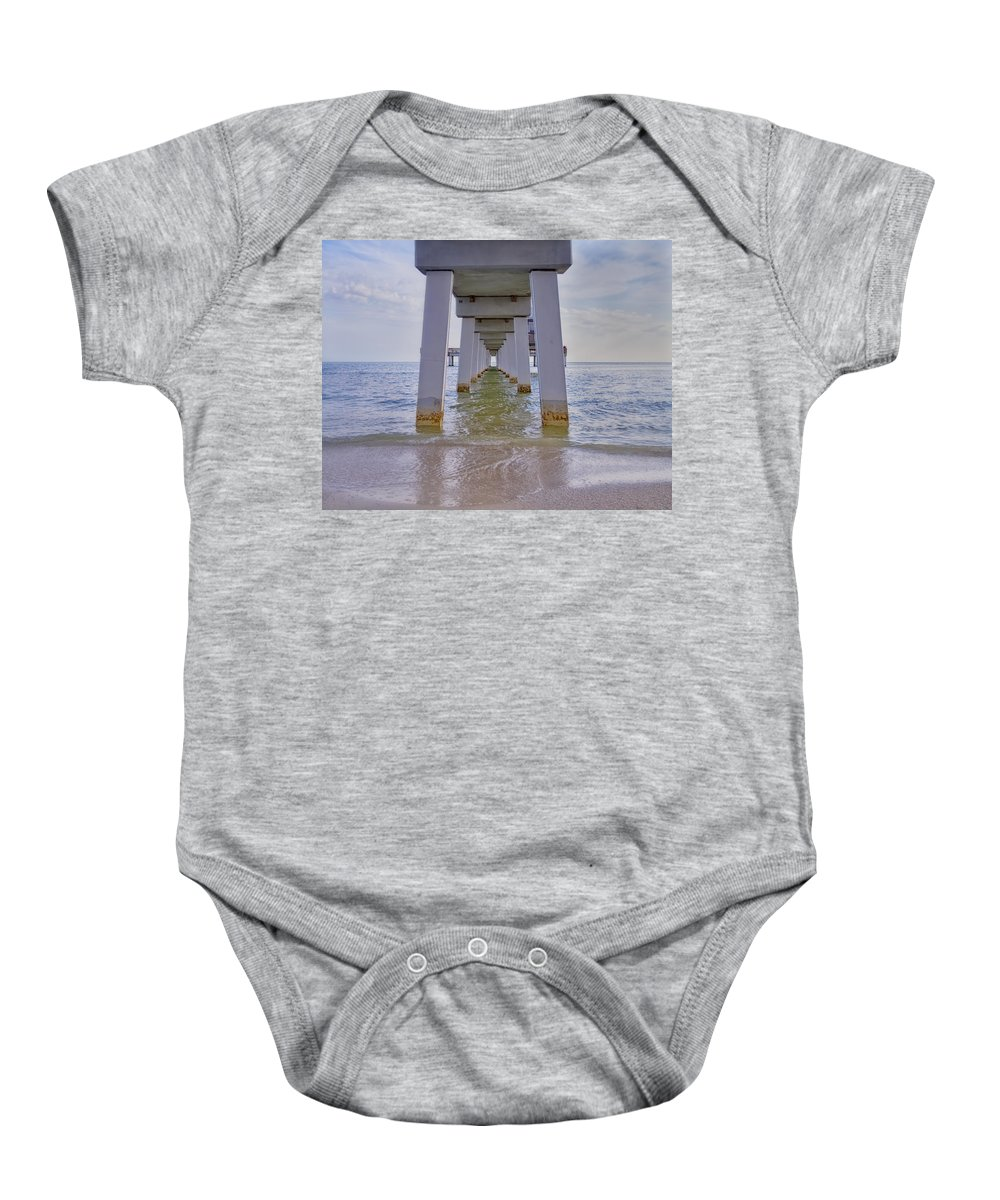 Pier Baby Onesie featuring the photograph Fort Myers Beach Pier by Kim Hojnacki