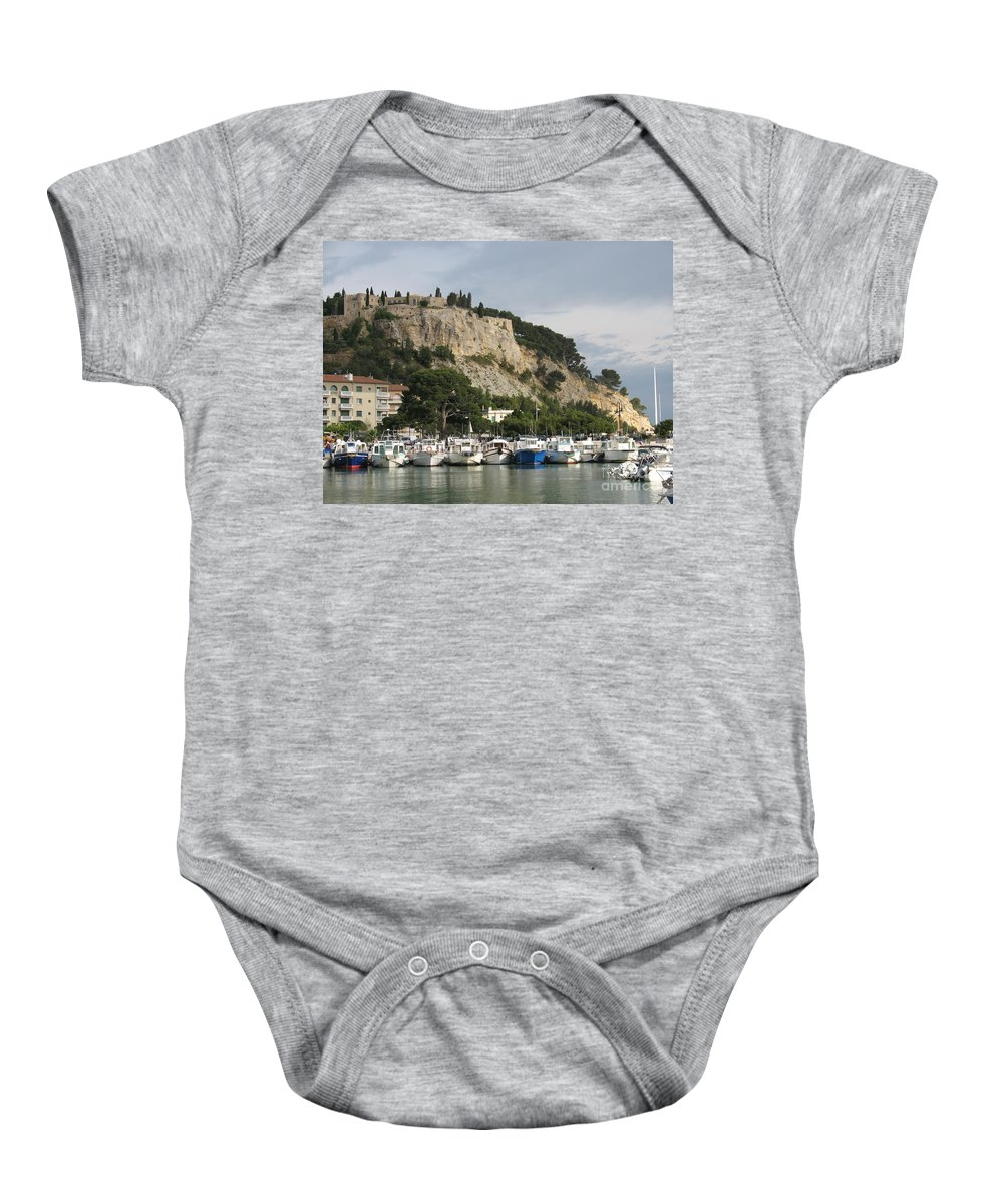Fortress Baby Onesie featuring the photograph Fortress And Harbor Cassis by Christiane Schulze Art And Photography