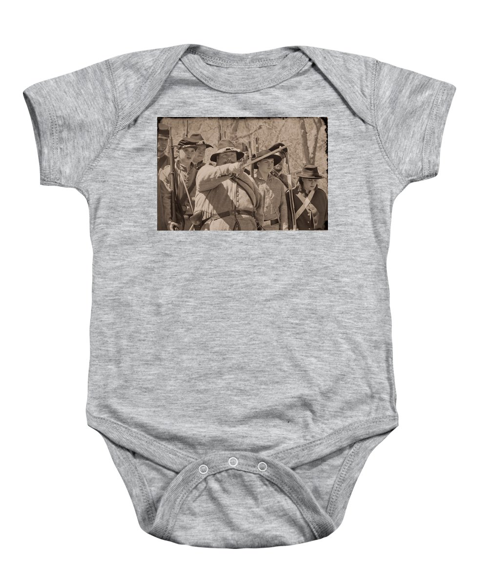 Soldiers Baby Onesie featuring the photograph Forward March by Kim Henderson