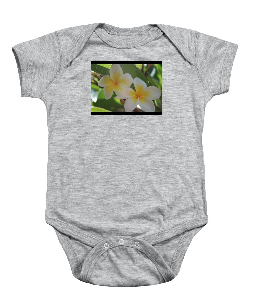 Baby Onesie featuring the photograph Frangipanni by Barry Olsen