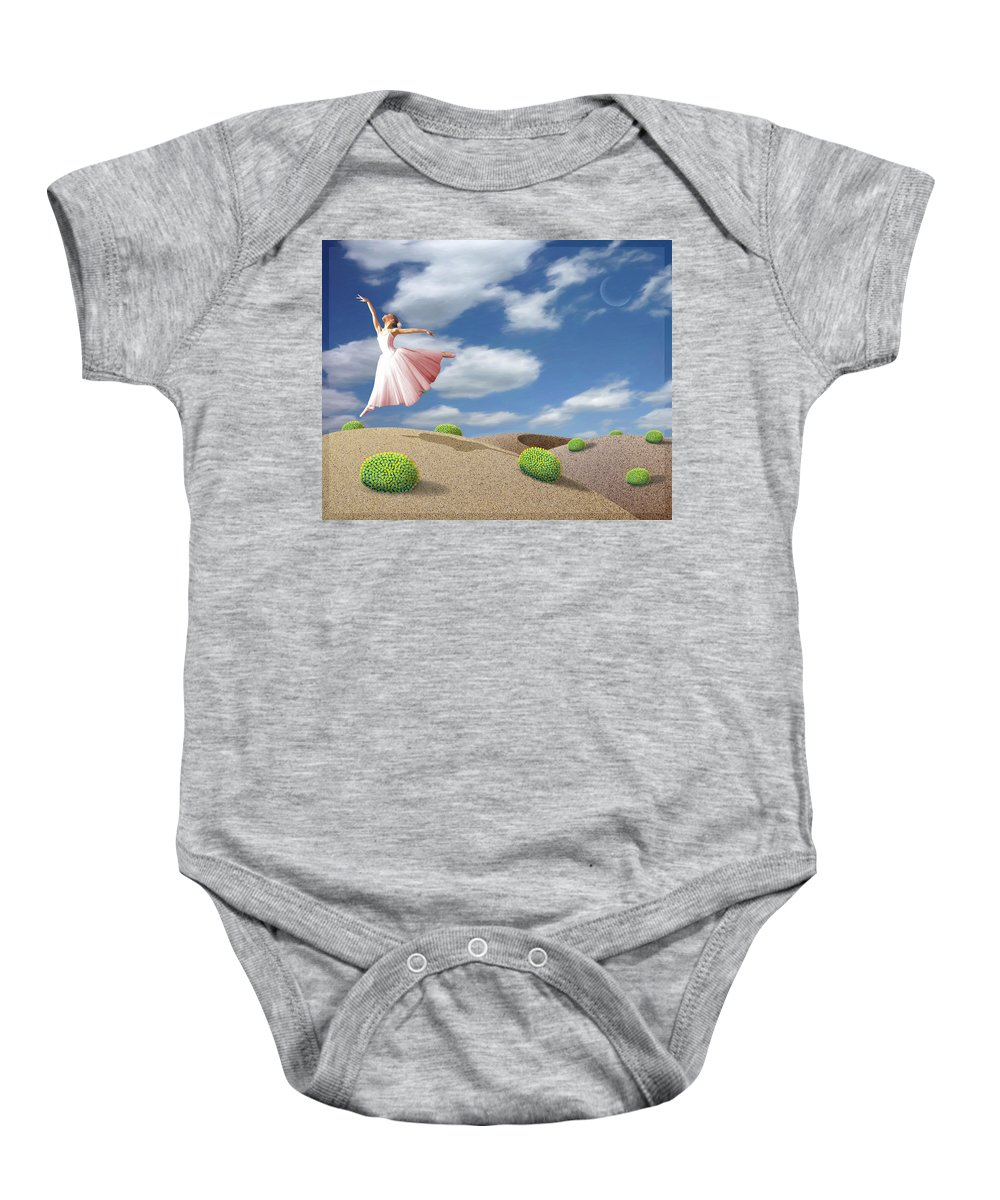 Ballerina Baby Onesie featuring the painting Free Spirit by Snake Jagger