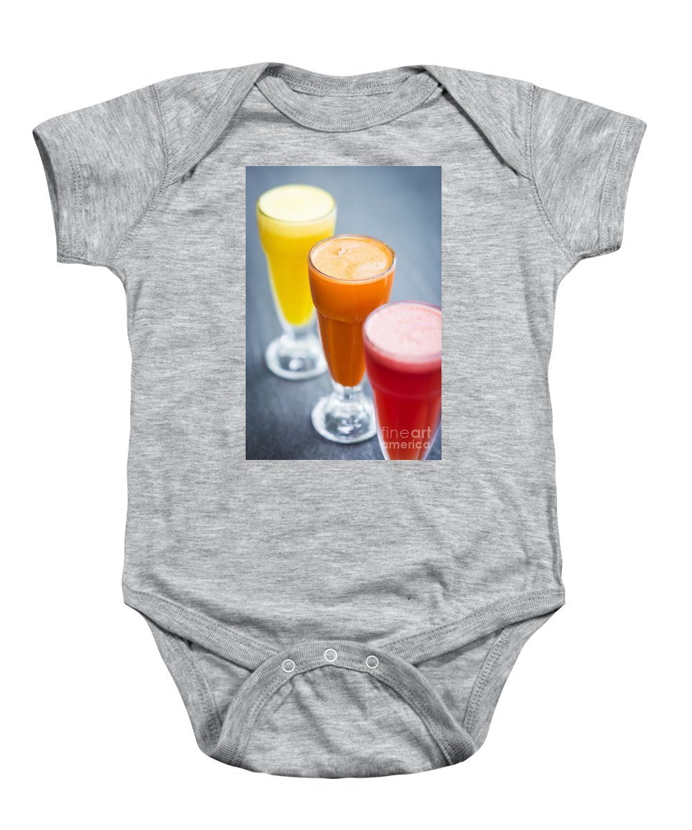 Carrot Baby Onesie featuring the photograph Fresh Orange Carrot And Watermelon Fruit Juice by Jacek Malipan