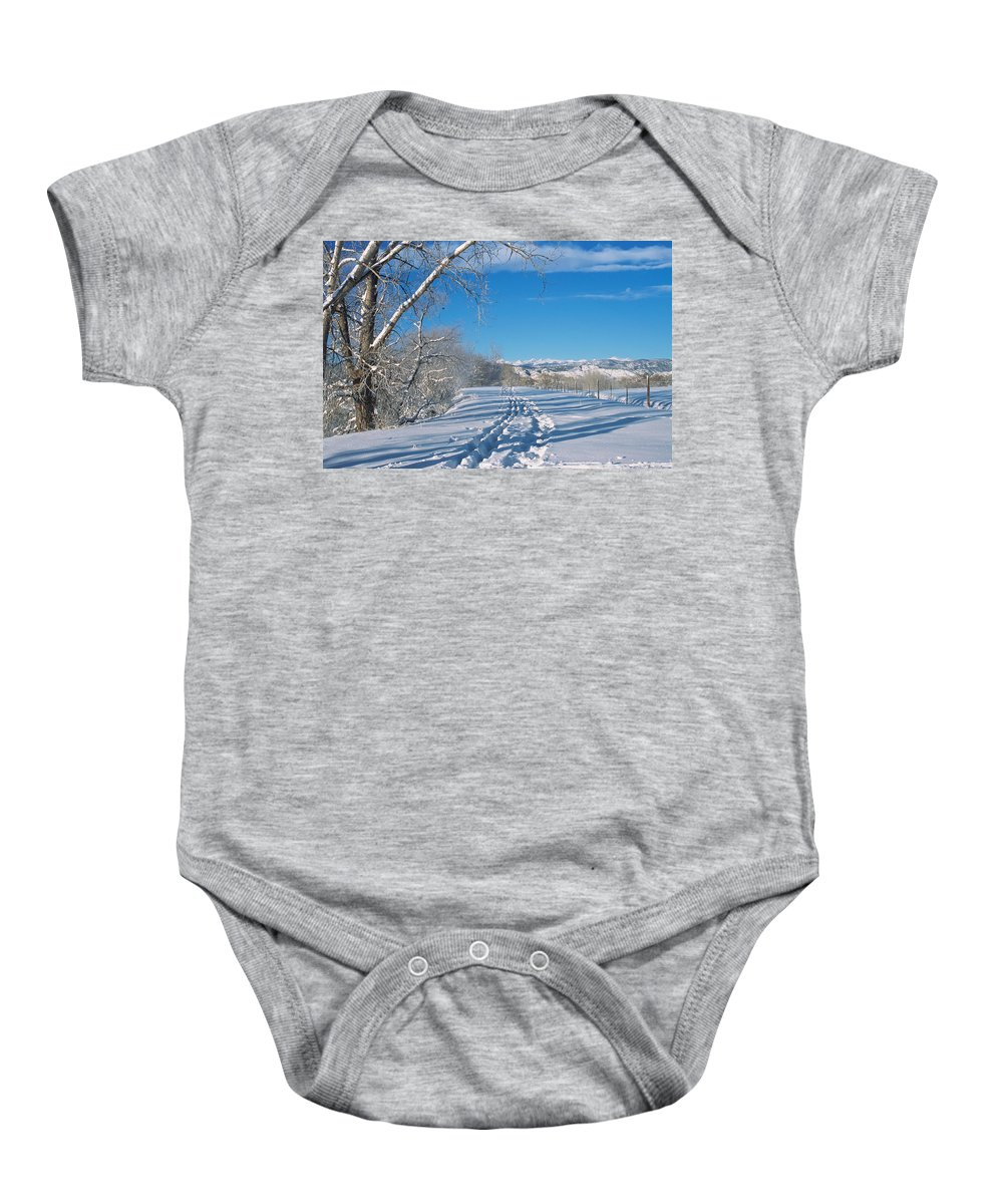 Boulder Baby Onesie featuring the photograph Fresh Tracks by Eric Glaser