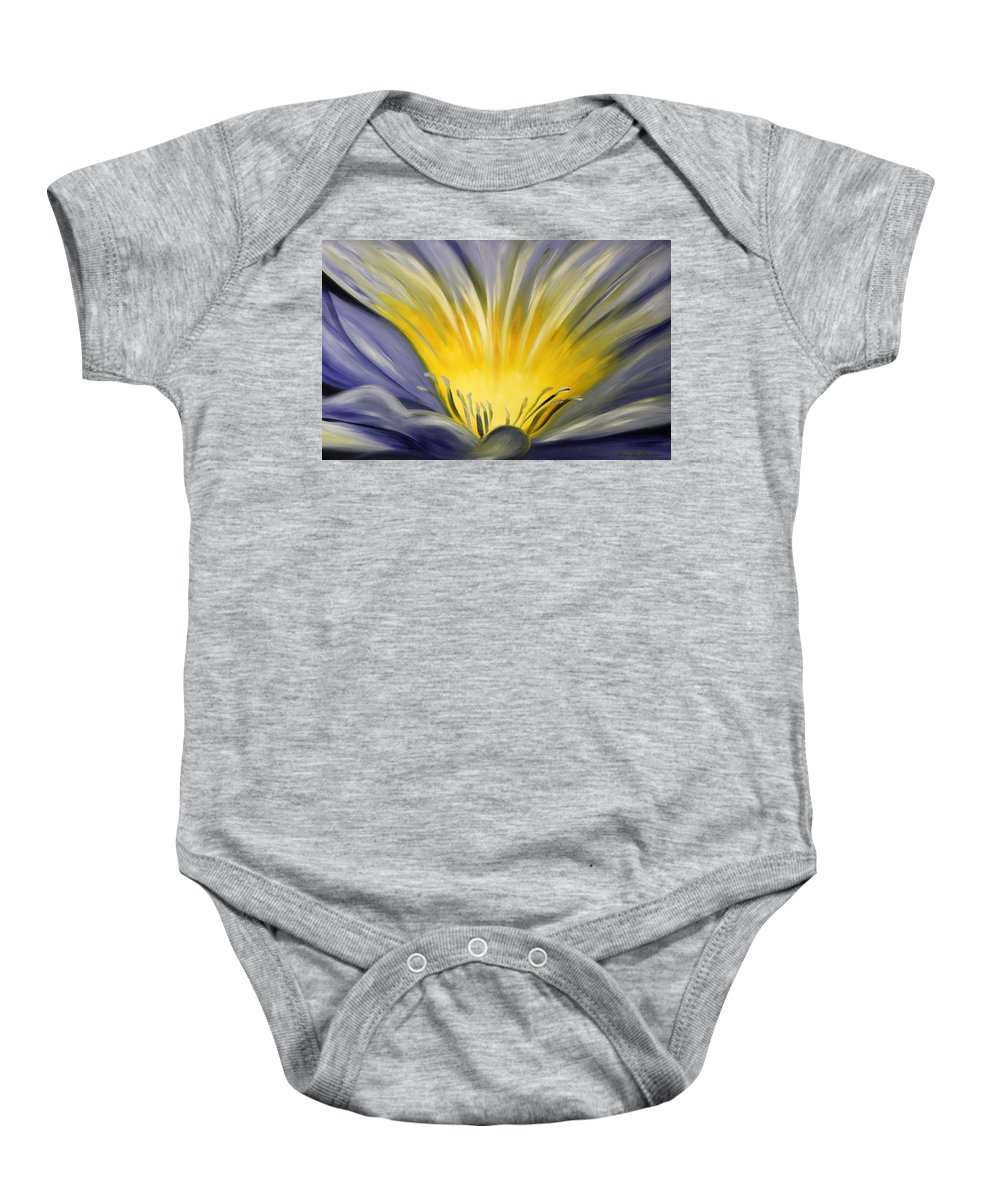 Blue Baby Onesie featuring the painting From The Heart Of A Flower Blue by Gina De Gorna