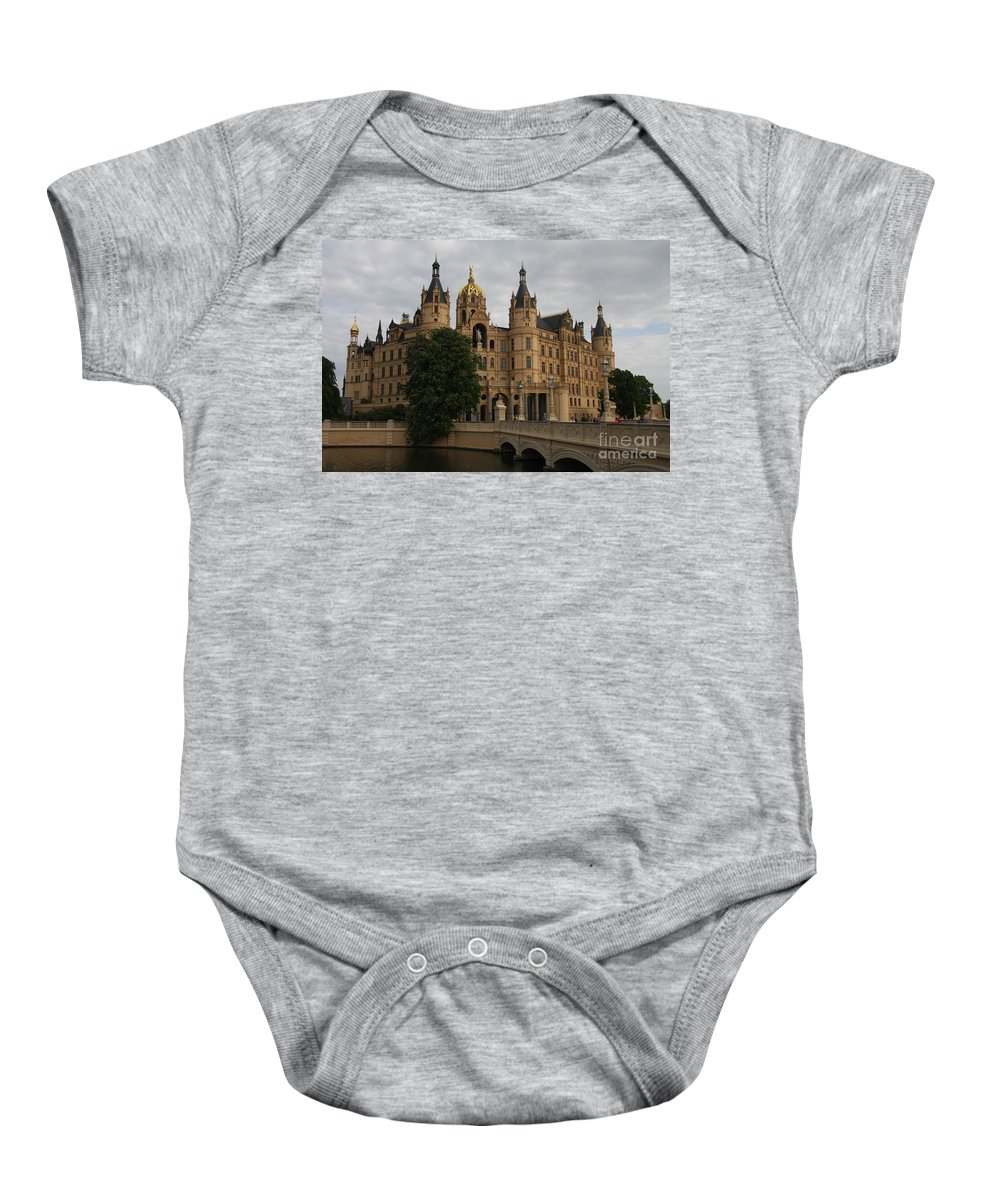 Schwerin Baby Onesie featuring the photograph Front View Of Palace Schwerin by Christiane Schulze Art And Photography