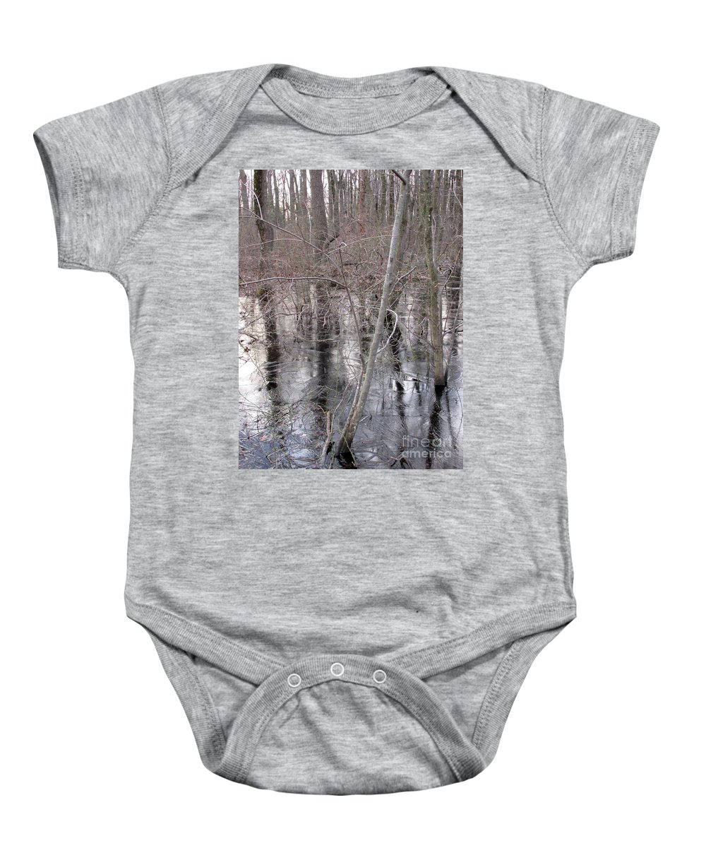 Frozen Forest Floor Ice Forest Frozen Woodland Ice Frozen Wetland Ice Swamp Frozen Landscapes Winter Woods Winter Wetland Winterscape Frozen Ground Icescapes North Woods North American Landscapes Northeast Ecosystems Mid Atlantic Hardwood Forest Baby Onesie featuring the photograph Frozen Forest Floor by Joshua Bales