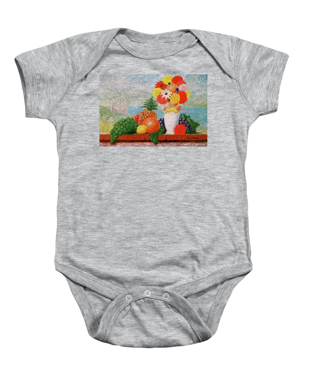Grapes Orange Lemon Pineapple Flowers Castle Lake Baby Onesie featuring the painting Fruit Flowers And Castle by Frank Hunter