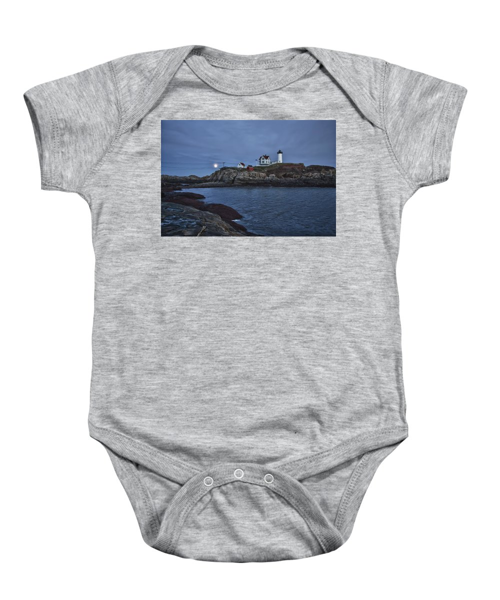 Maine Lighthouse Baby Onesie featuring the photograph Full Moon Rise Over Nubble by Jeff Folger