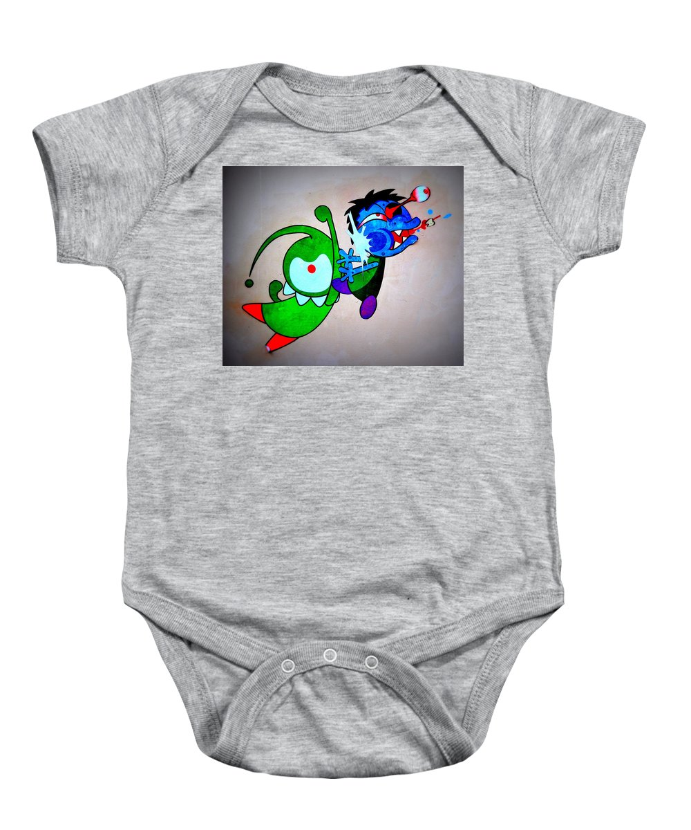 Baby Onesie featuring the photograph Funny Friends by Riad Belhimer