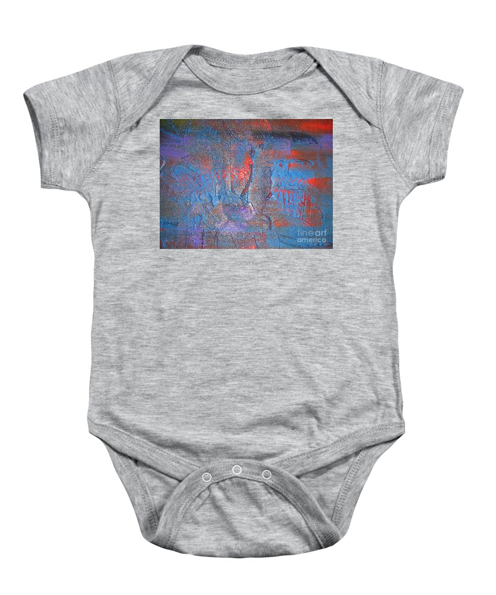 Abstract Baby Onesie featuring the painting Funny Rain by Silvana Abel