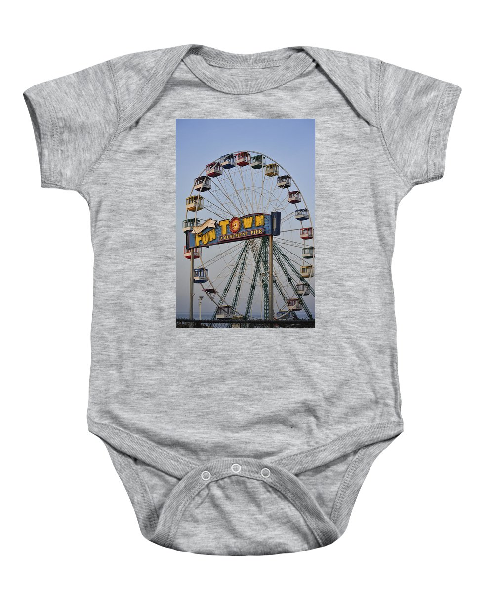 Funtown Pier Baby Onesie featuring the photograph Funtown Ferris Wheel by Terry DeLuco