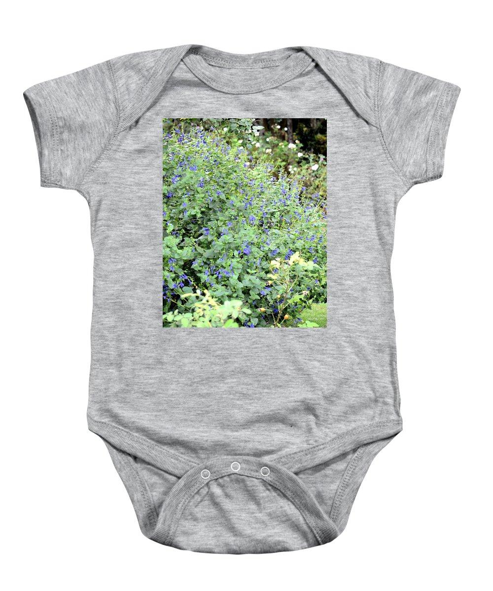 Garden Blues Baby Onesie featuring the photograph Garden Blues by Maria Urso