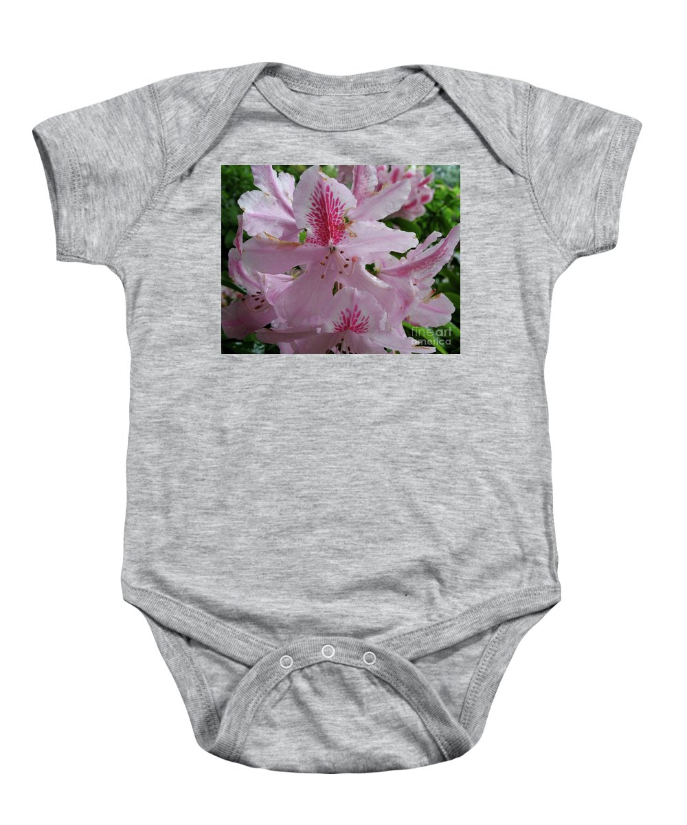 Rhododendron Baby Onesie featuring the photograph Garden Sunshine by Christiane Schulze Art And Photography