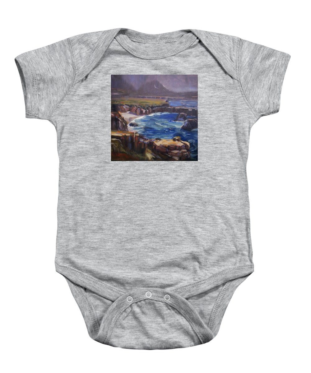 Landscape Baby Onesie featuring the painting Garrapata by Elena Sokolova