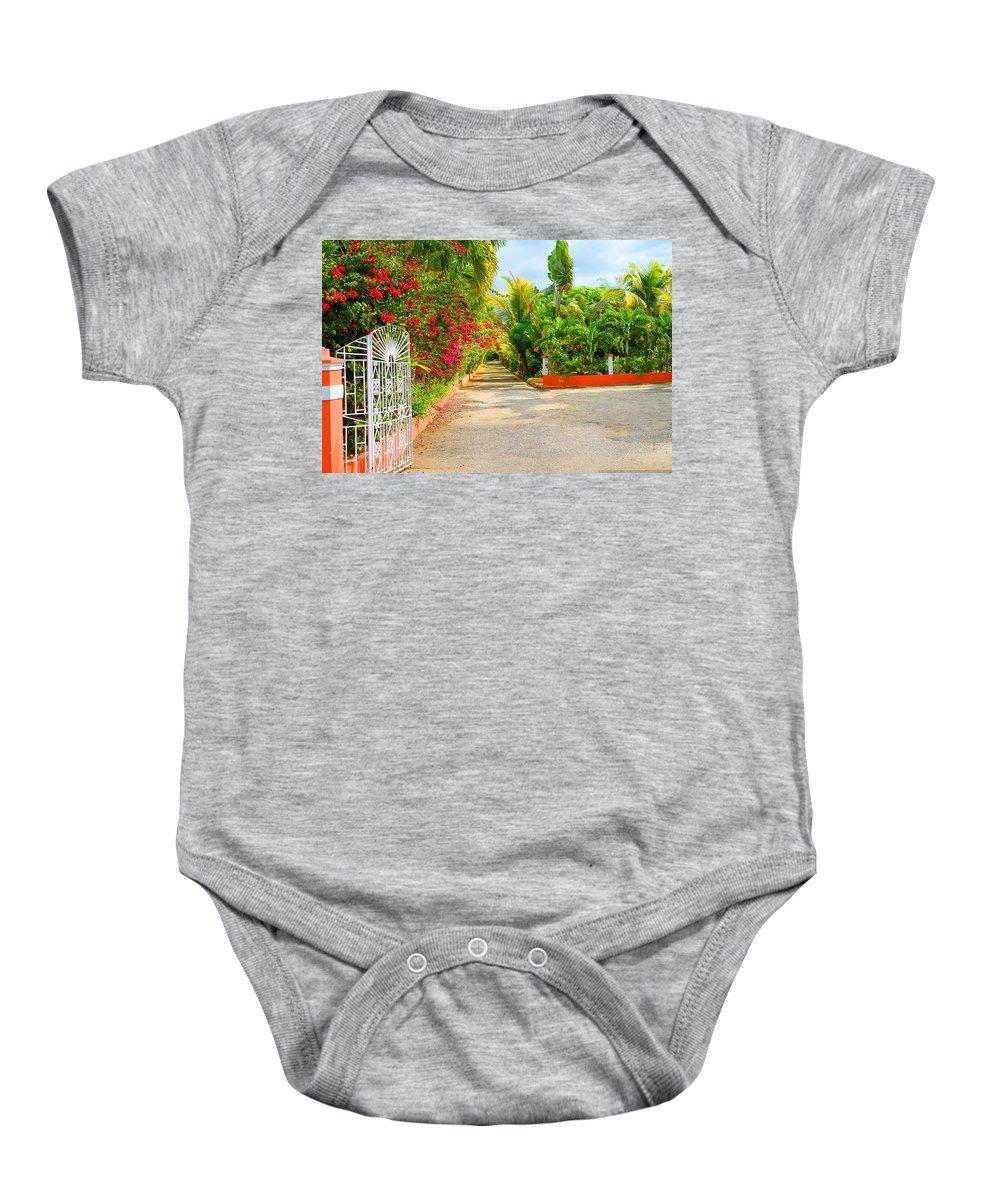 Gate Baby Onesie featuring the photograph Gateway to Jamaica by Debbie Levene