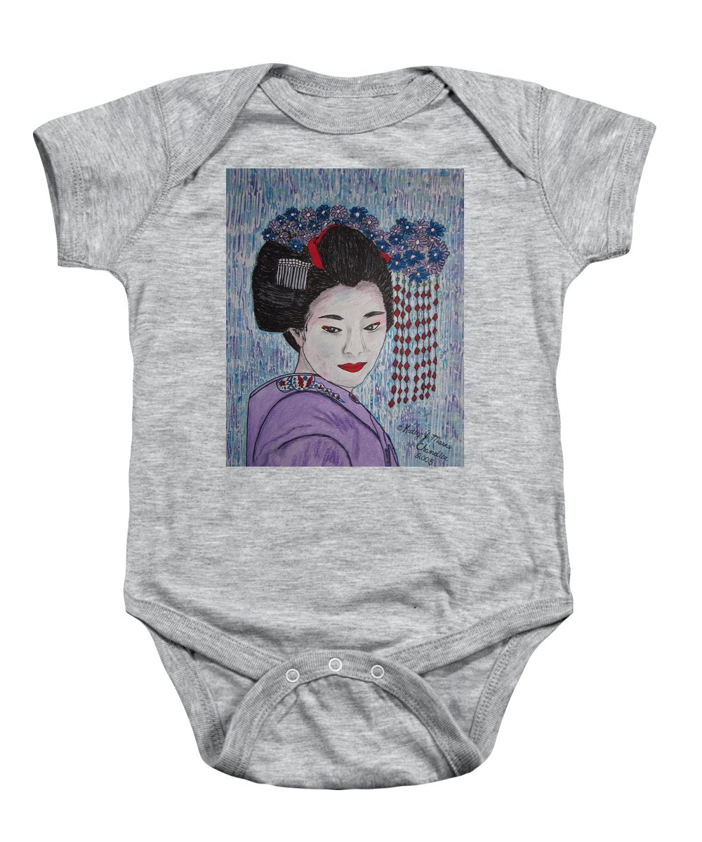Oriental Baby Onesie featuring the painting Geisha Girl by Kathy Marrs Chandler