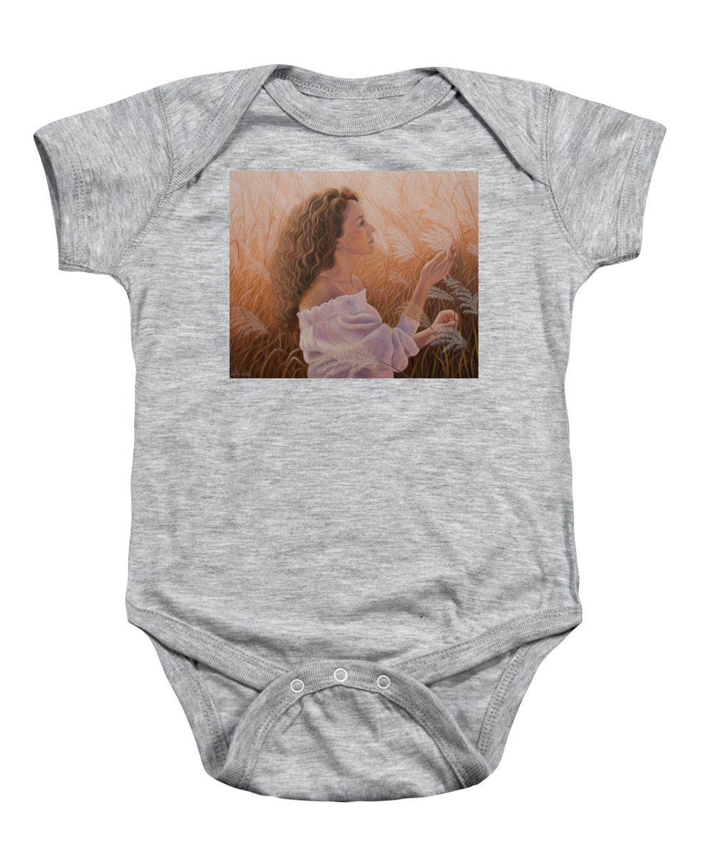 Realism Baby Onesie featuring the painting Gentle On My Mind by Holly Kallie
