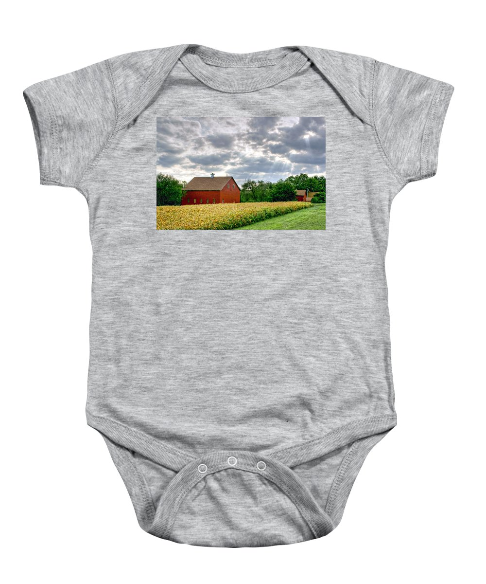 Red Barns Baby Onesie featuring the photograph Geometry Of Autumn by Nikolyn McDonald