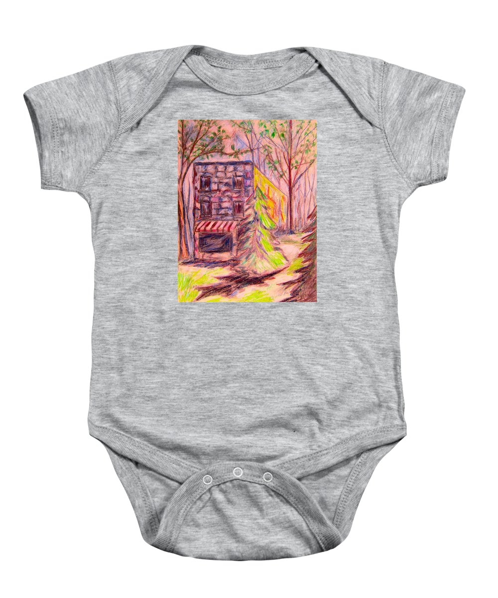Store Baby Onesie featuring the drawing Ghost Store by Kendall Kessler
