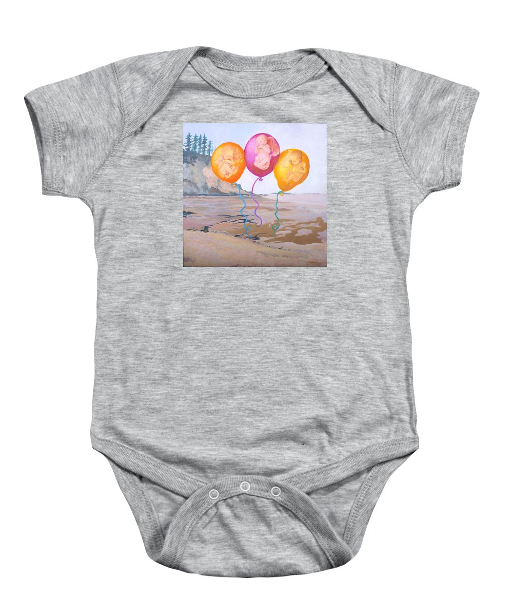 Balloons Baby Onesie featuring the painting Gifts by Susan McNally
