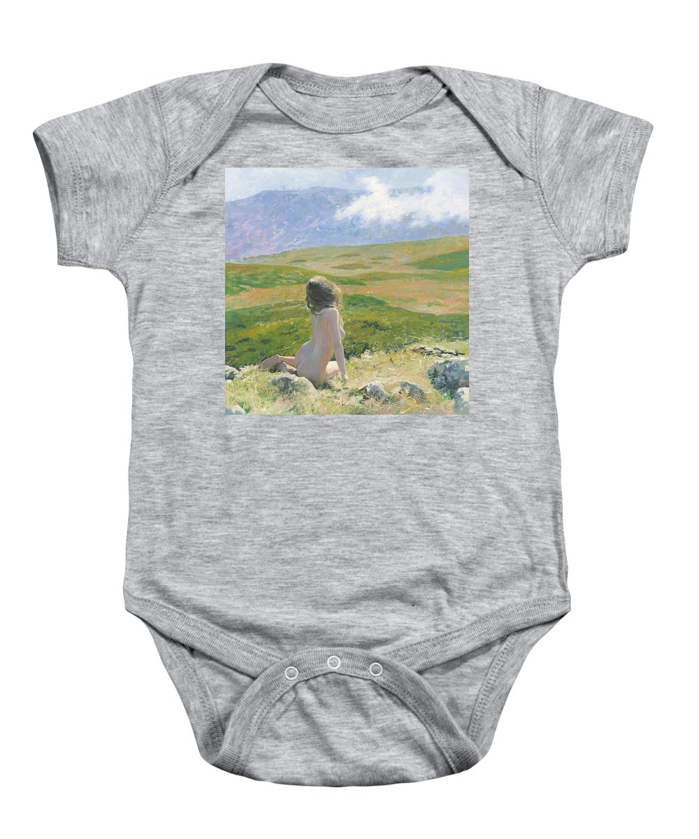Girl Baby Onesie featuring the painting Girl And Cloud by Denis Chernov