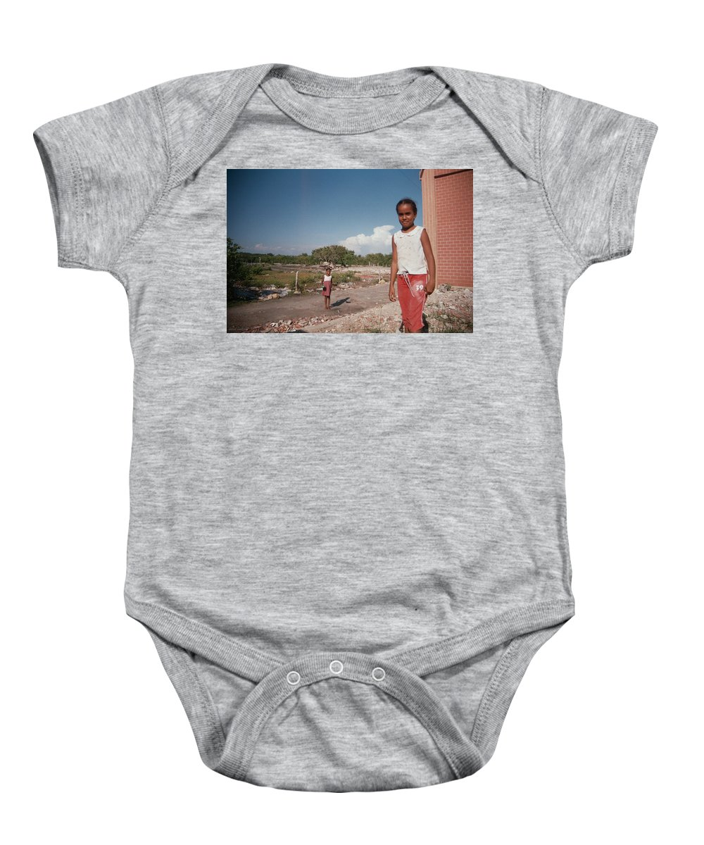 Girl Baby Onesie featuring the photograph Girls Without Playground by David Cardona