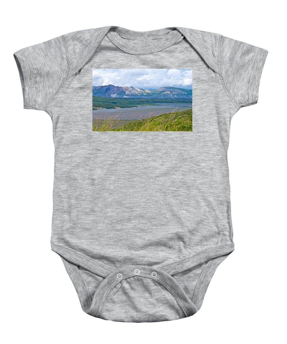 Glaciers And Mountains From Eielson Visitor's Center Baby Onesie featuring the photograph Glaciers And Mountains From Eielson Visitor's Center In Denali Np-ak by Ruth Hager