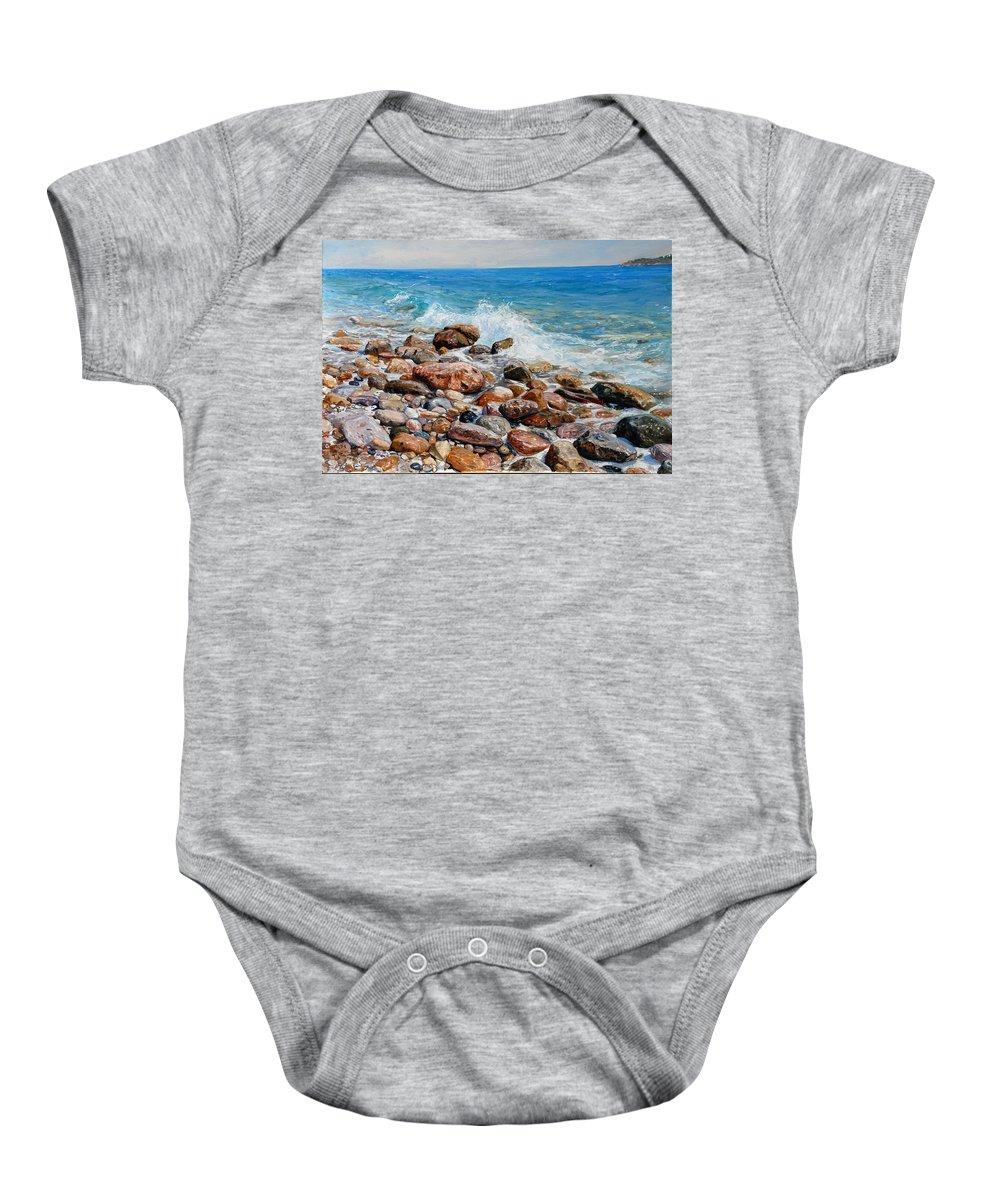 Seascape Baby Onesie featuring the painting Glyfada Greece by Sefedin Stafa