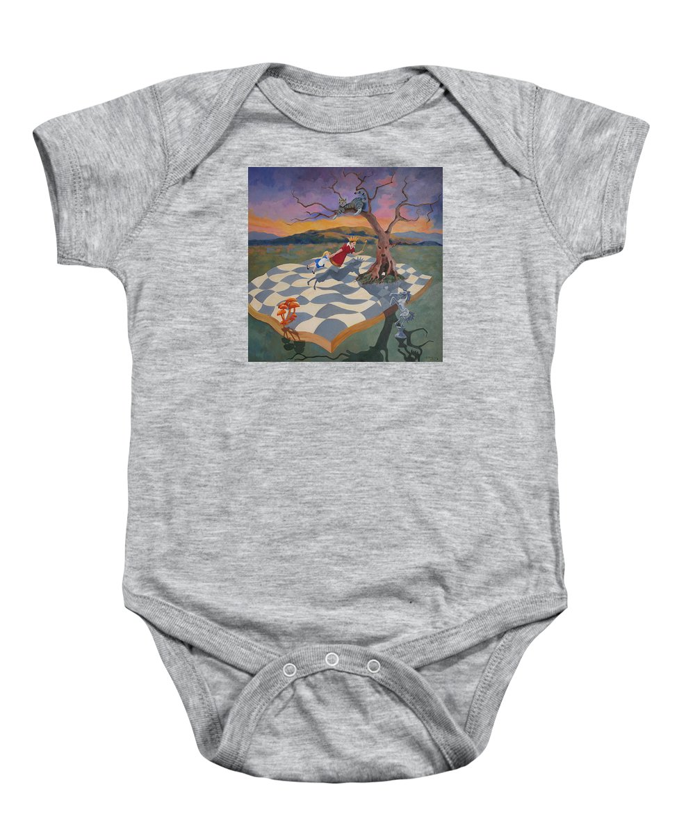 Alice Baby Onesie featuring the painting Go Ask Alice by Susan McNally