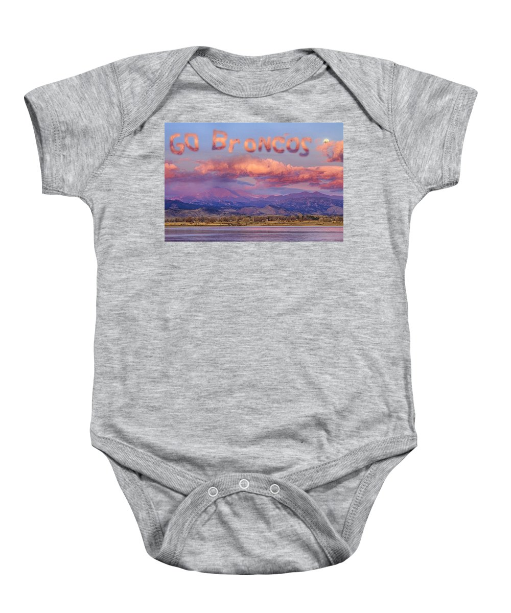 Go Broncos Baby Onesie featuring the photograph Go Broncos Colorado Front Range Longs Moon Sunrise by James BO Insogna