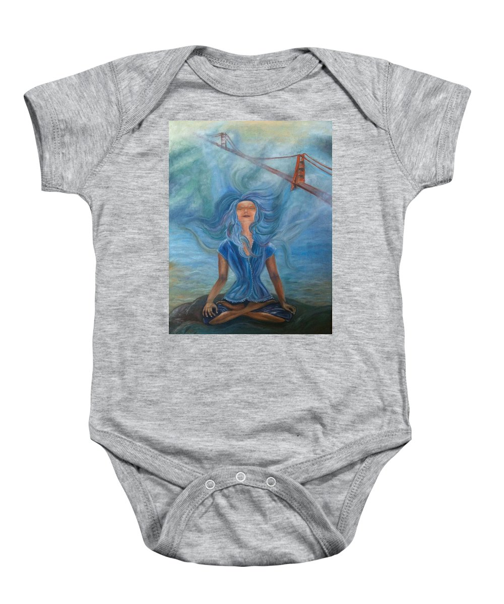 Goddess Baby Onesie featuring the painting Goddess Of Golden Gate Brigde by Mila Kronik