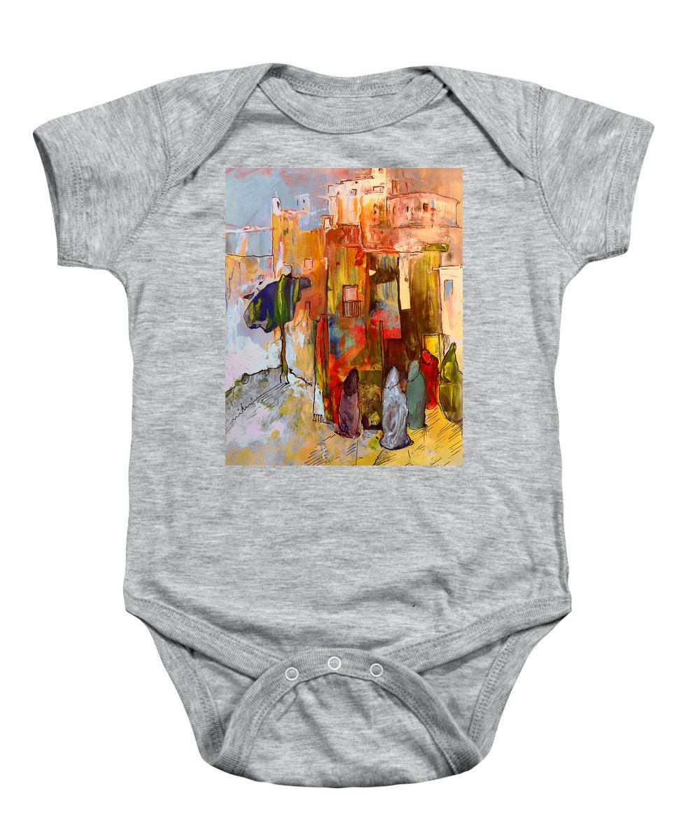 Travel Baby Onesie featuring the painting Going To The Medina In Morocco by Miki De Goodaboom