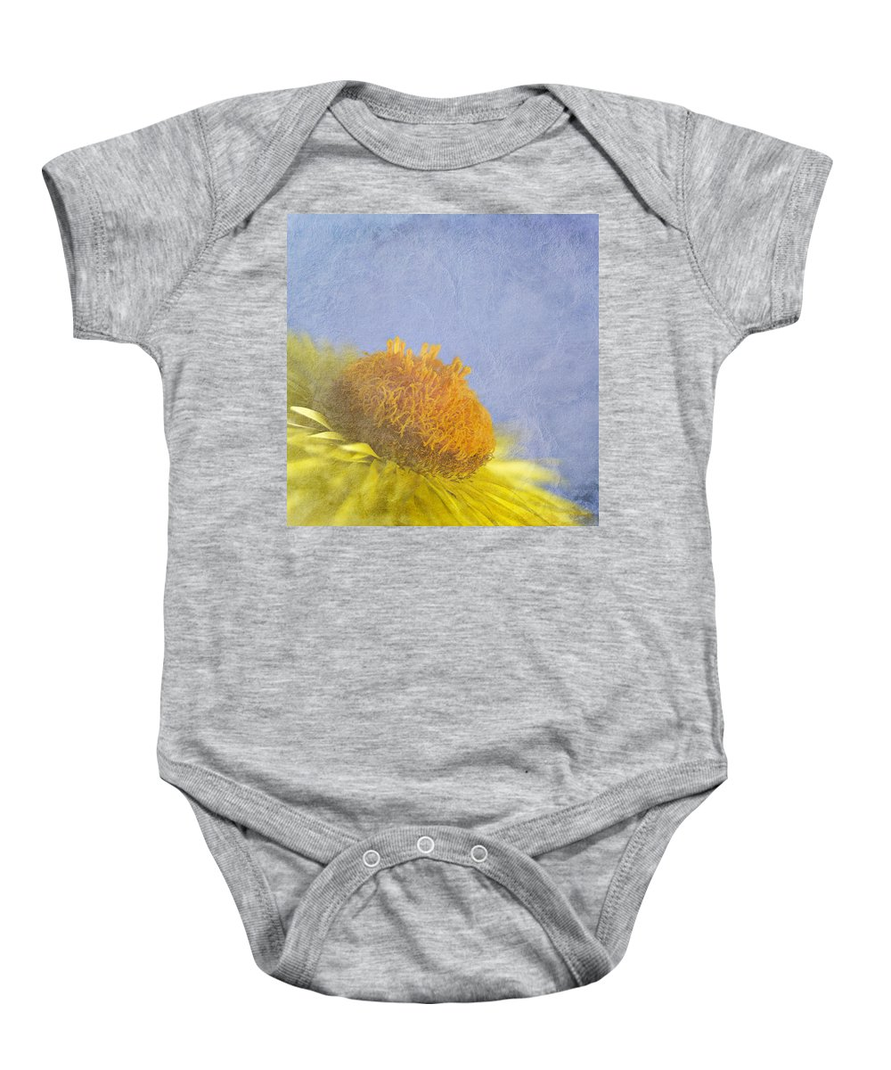 Golden Everlasting Baby Onesie featuring the photograph Golden Everlasting Daisy by Ben Bassey
