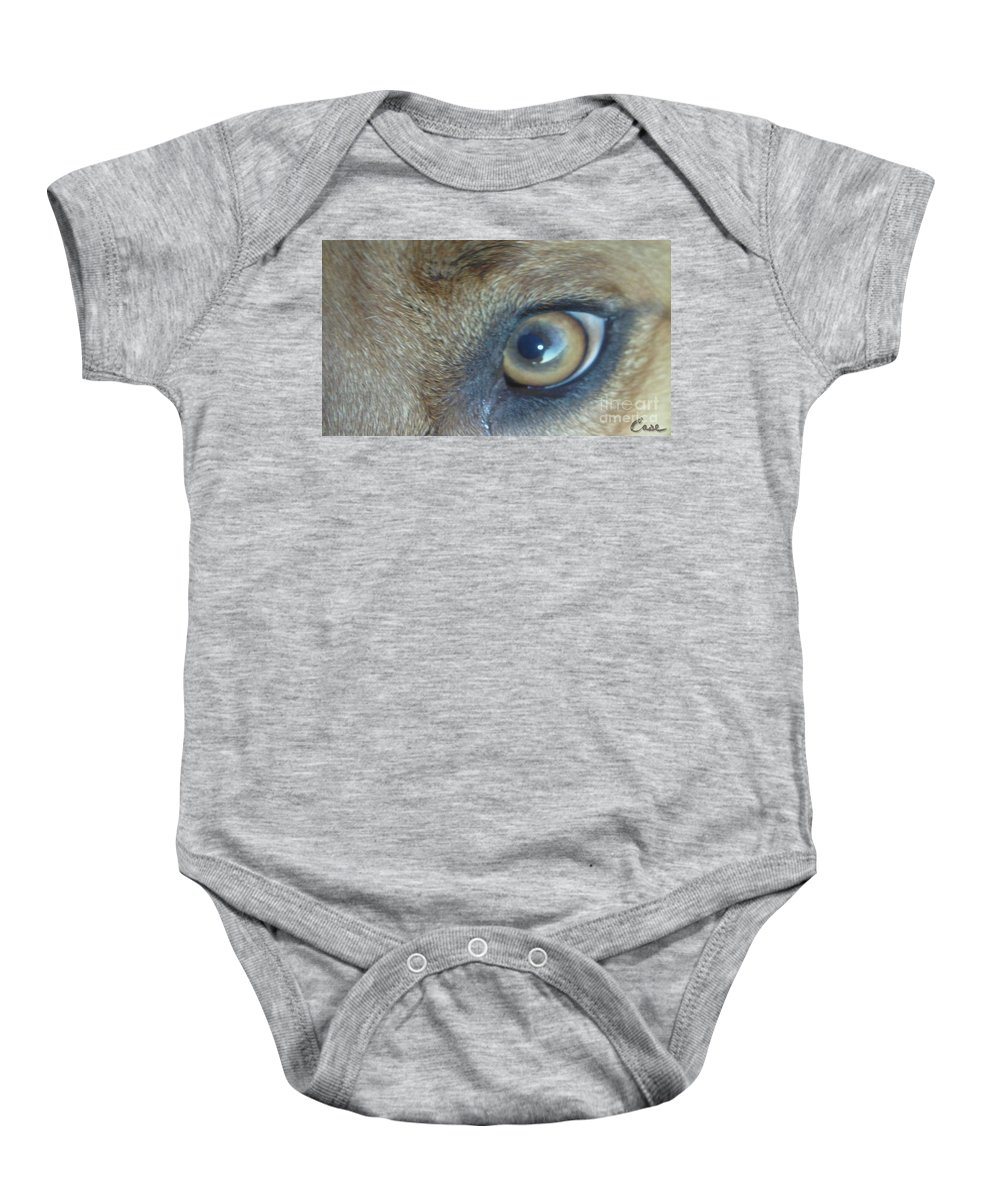Golden Eye Of Norbu 12 18 2011 Baby Onesie featuring the photograph Golden Eye Of Norbu 12 18 2011 by Feile Case