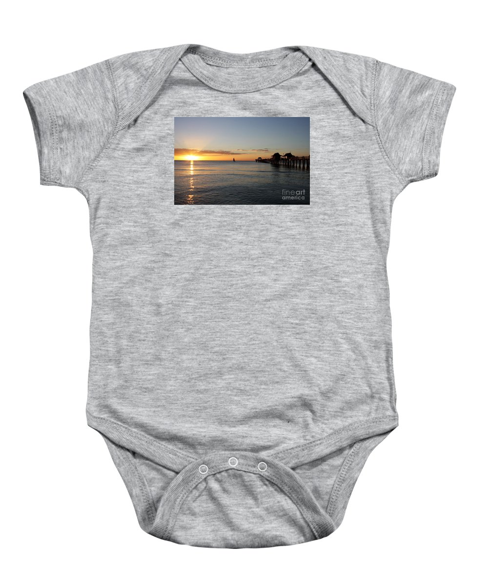 Sailing Baby Onesie featuring the photograph Golden Hour At Naples Pier by Christiane Schulze Art And Photography