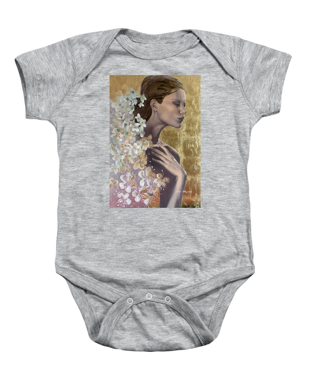Baby Onesie featuring the painting Golden Wind by Dorina Costras