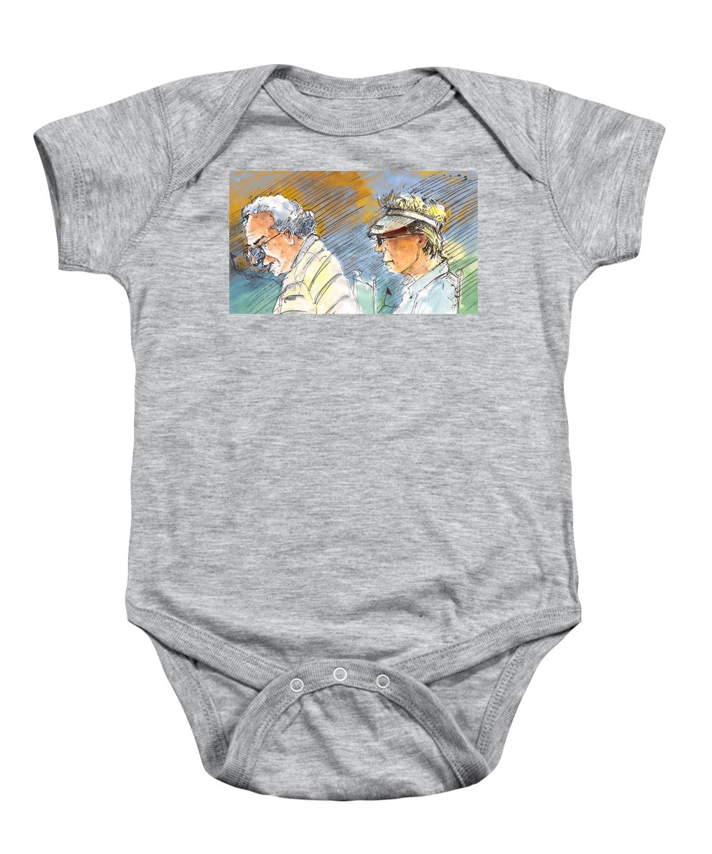 Portraits Baby Onesie featuring the painting Golfers In Soufflenheim 02 by Miki De Goodaboom