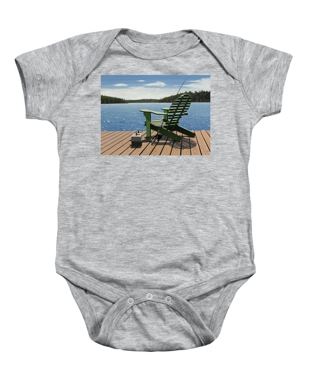 Landscapes Baby Onesie featuring the painting Gone Fishing by Kenneth M Kirsch