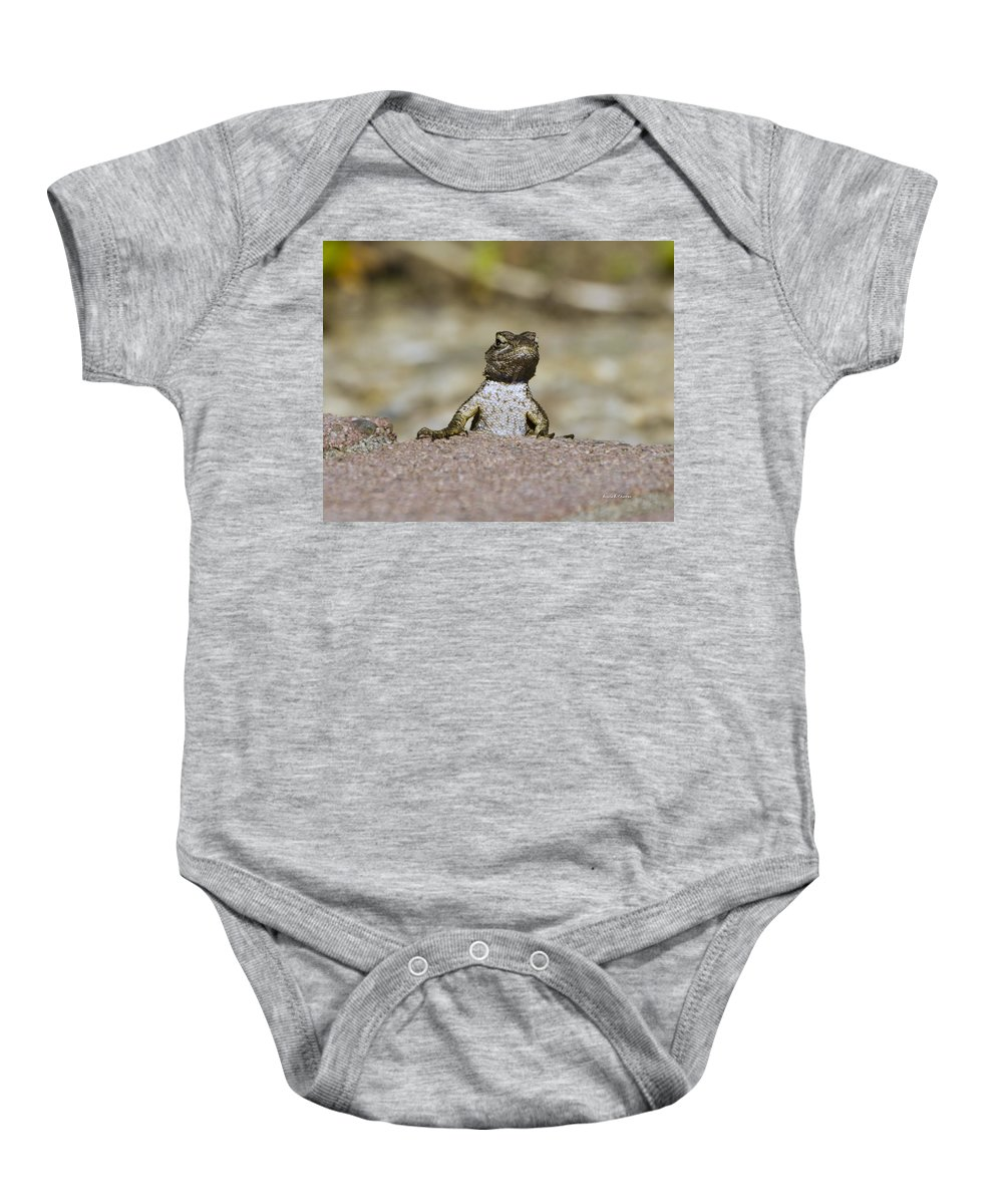 Lizard Baby Onesie featuring the photograph Good Morning Mate by Angela Stanton