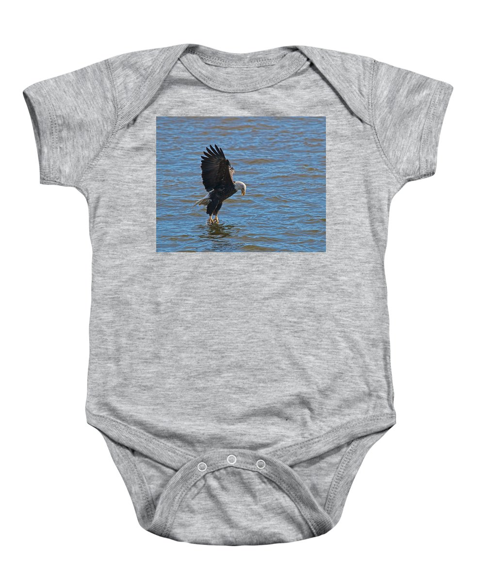 Bald Eagle Baby Onesie featuring the photograph Got It by Tim Schmidt