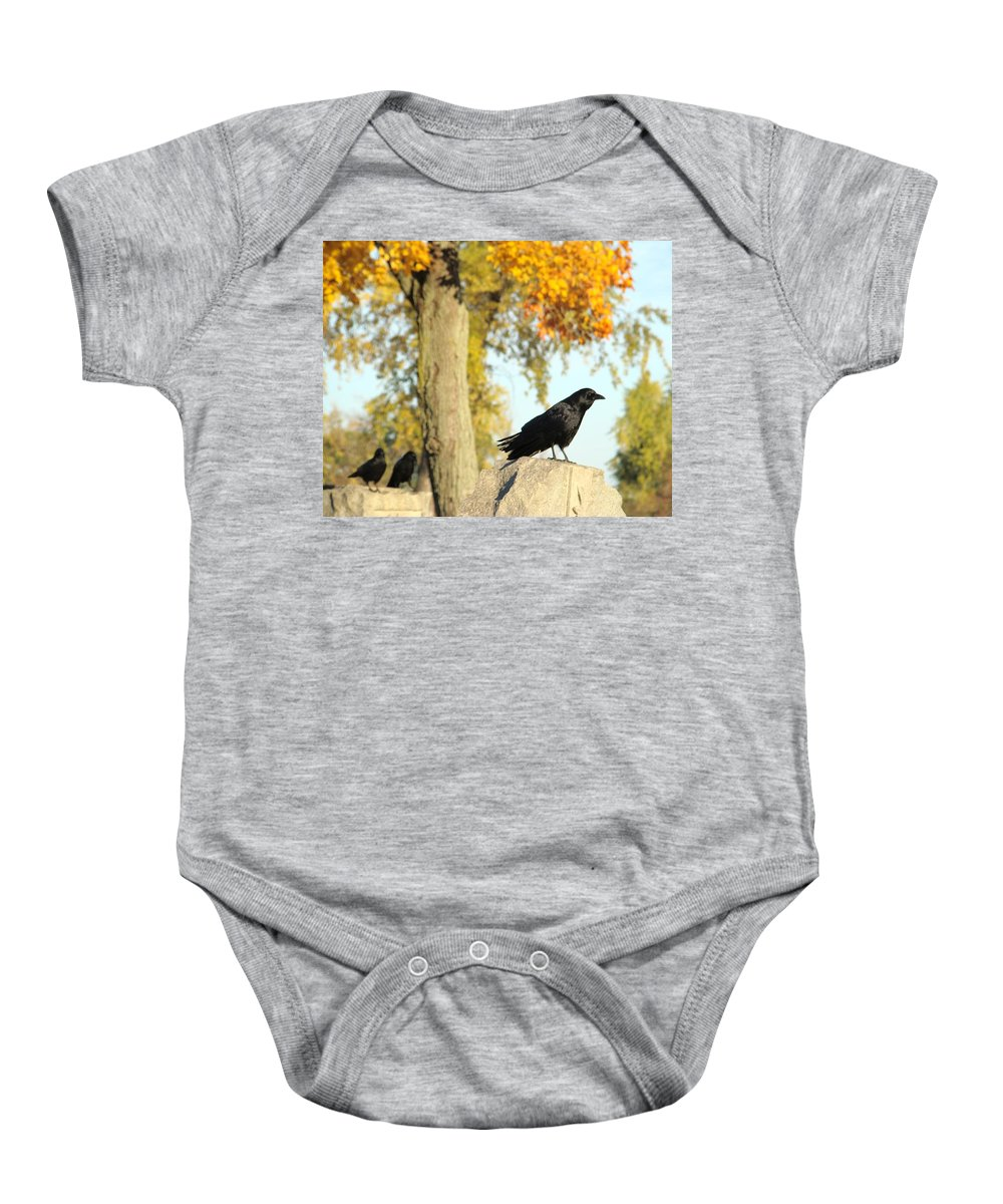 Autumn Cemetery Baby Onesie featuring the photograph Three Ravens On A Gothic Graveyard Day by Gothicrow Images