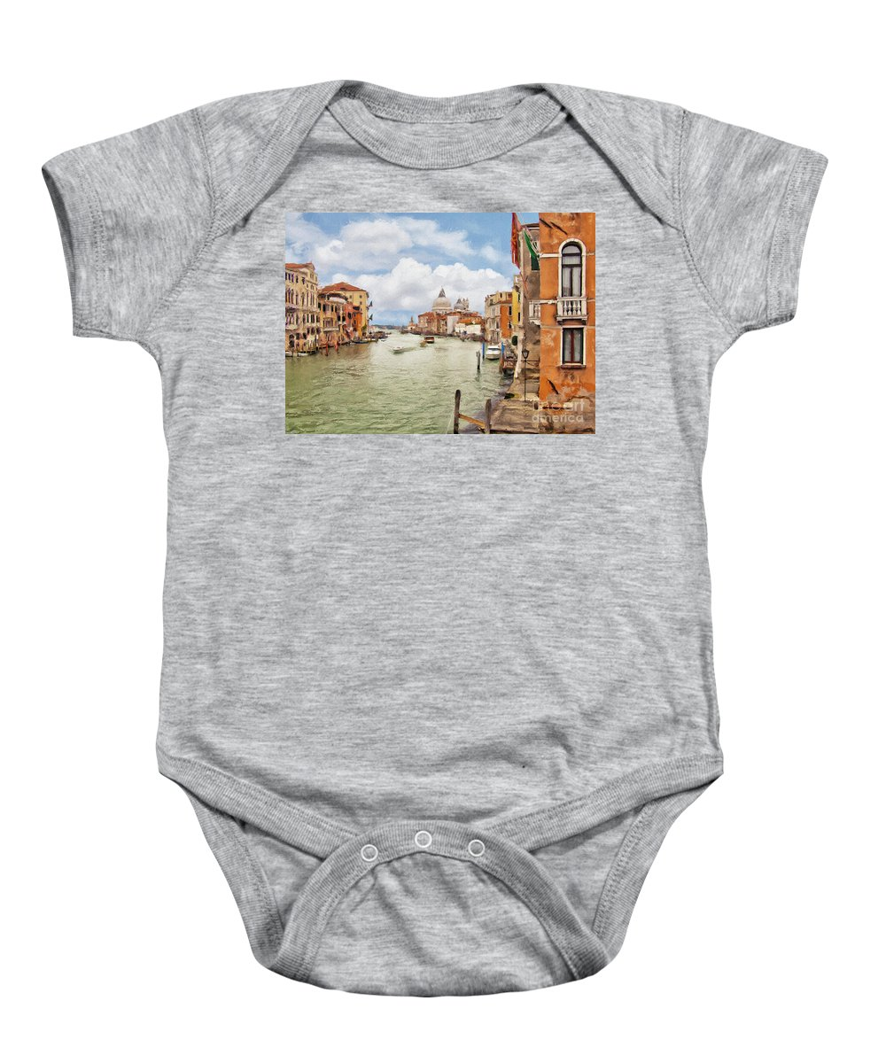 Grand Canal Baby Onesie featuring the photograph Grand Canal Apartment by Sharon Foster