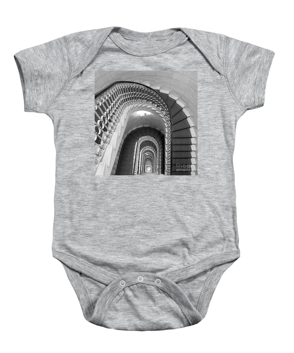 Stairwell Baby Onesie featuring the photograph Grand Flora Stairwell Rome Italy by Mike Nellums