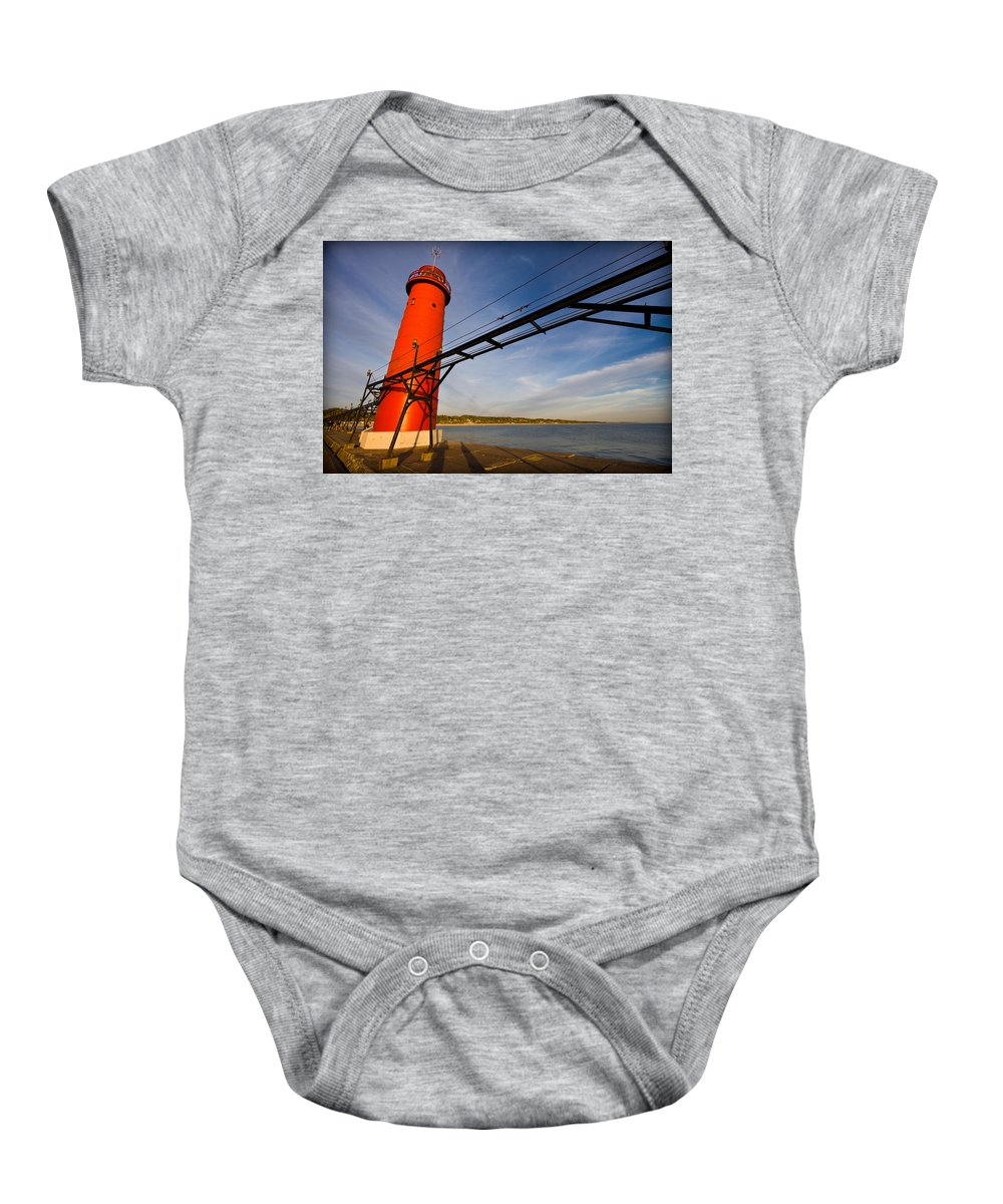 3scape Baby Onesie featuring the photograph Grand Haven Lighthouse by Adam Romanowicz