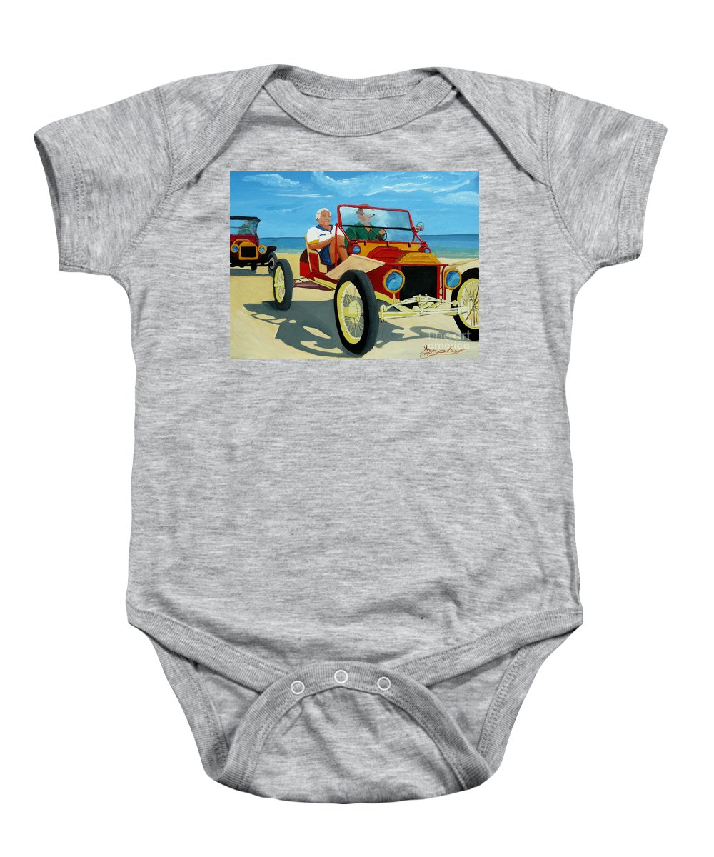 Cars Baby Onesie featuring the painting Granpas Racer by Anthony Dunphy