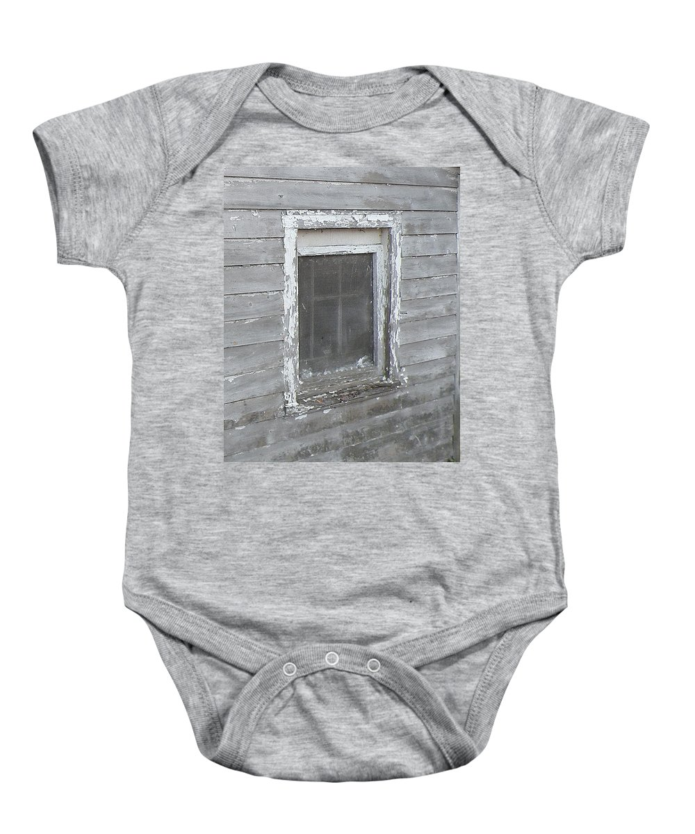 Window Baby Onesie featuring the photograph Gray Window by Kim Bemis