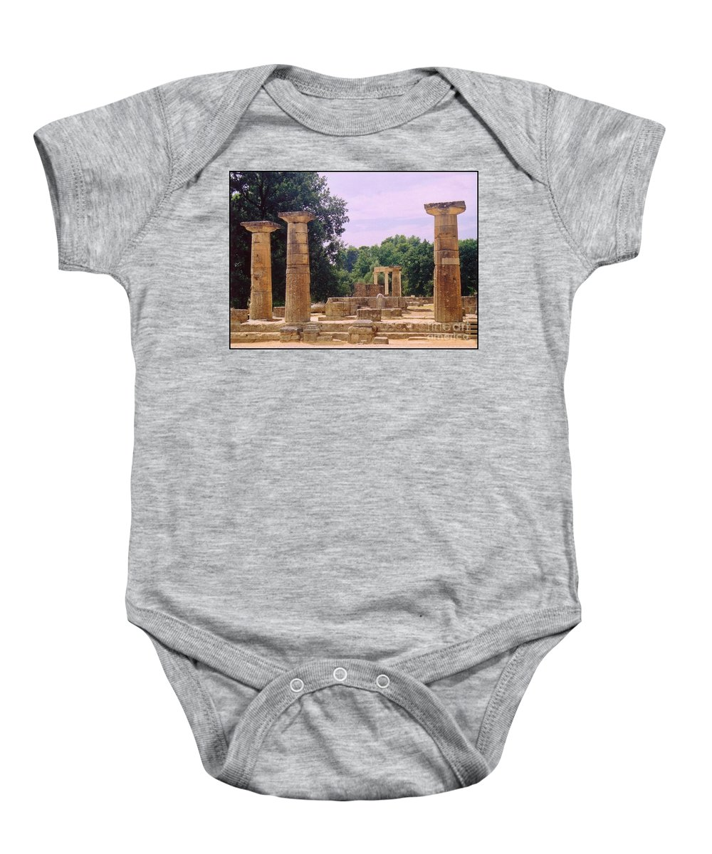 Landscape Art Baby Onesie featuring the photograph Greek Ruins At Olympia by John Malone