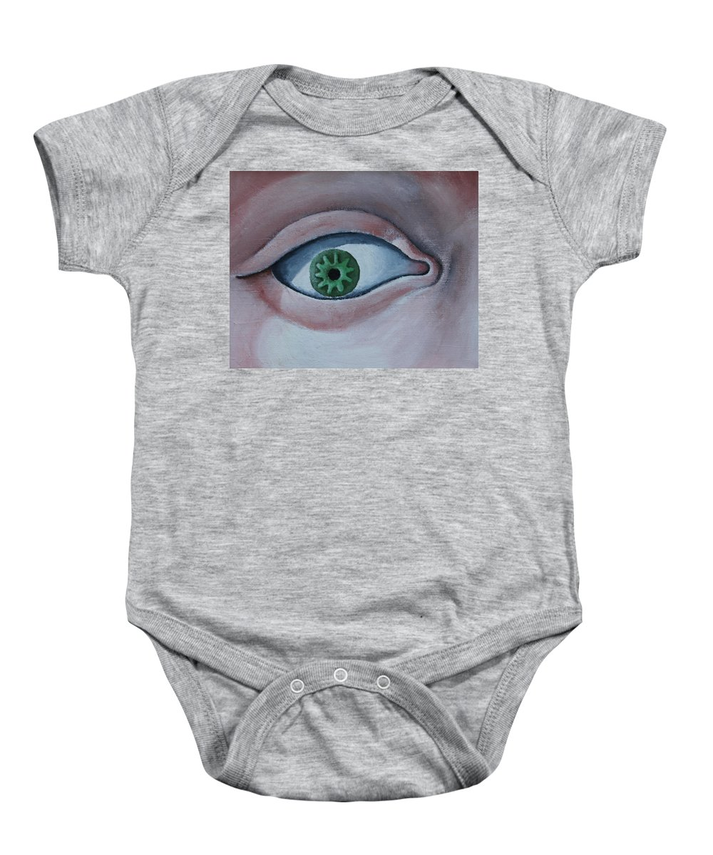 Eye Baby Onesie featuring the painting Green Eye by Don Martinelli